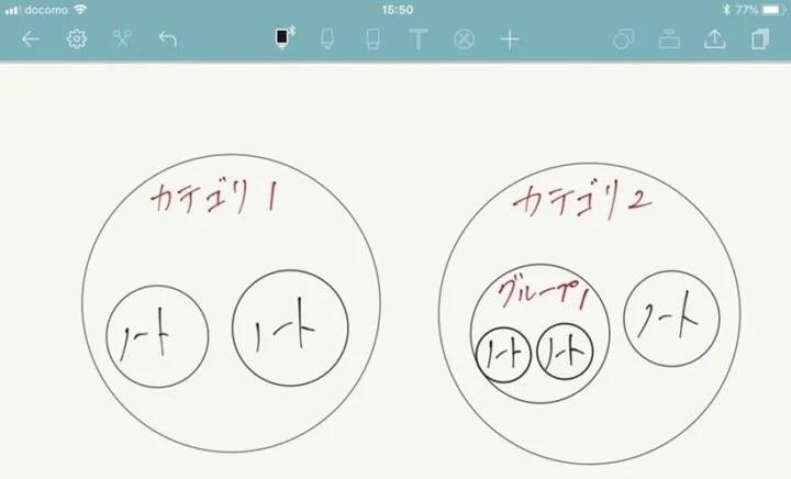 Noteshelf 2のカテゴリとグループ