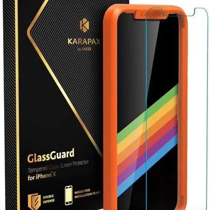 【Anker】KARAPAX GlassGuard ガイド枠で貼り付け簡単
