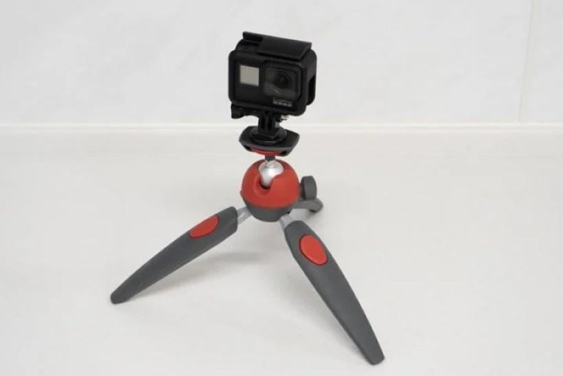 アダプタを使ってGoProを既存のミニ三脚にセット