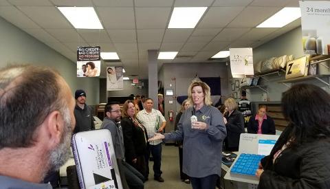 Gretchen Choosing door prize winners