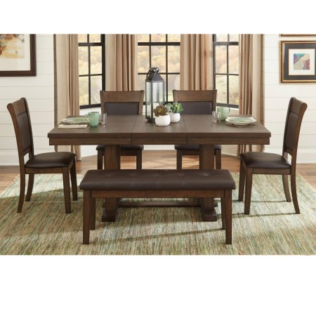 Wieland Dining table with leaf and bench