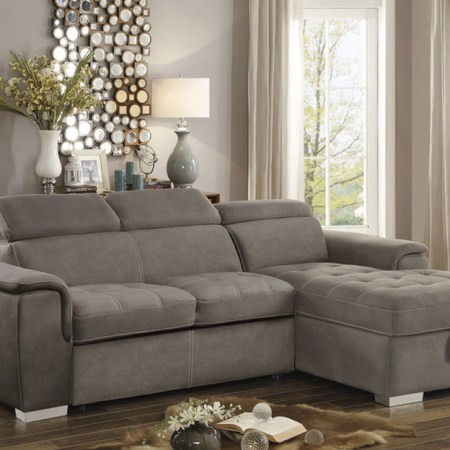 Ferriday Sectional with Pullout bed and storage in Taupe