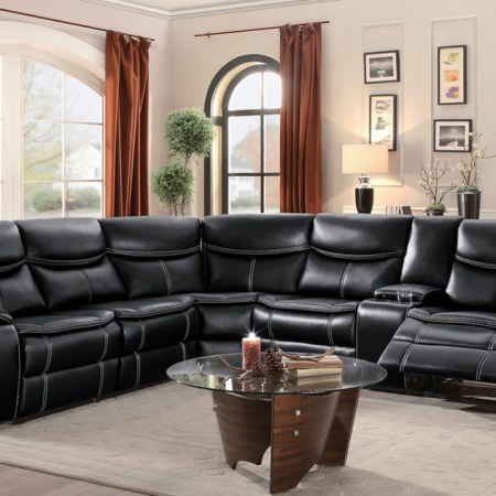 Bastrop Black Reclining Sectional available at Live Well Mattress & Furnishing Centres