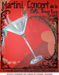 Martini Concert, french style poster painting, painting by Raquel Jackson_Rockwell Art & Design, custom canvas painting, fine art, wall art