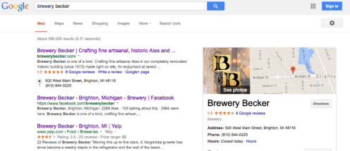 Brewery Becker_google plus page | google maps | my business search results | working with Rockwell Art and Design