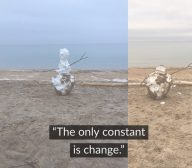 The only constant is change_melting snowman by Lake Michigan
