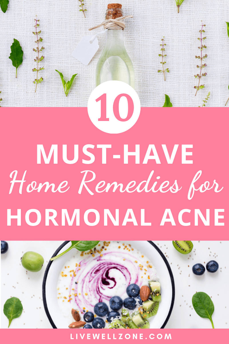 essential oils and smoothie bowl as home remedies for hormonal acne