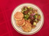 Grain-Free Salmon Cakes with Sauteed Brussel Spouts, Broccoli & Red Onion