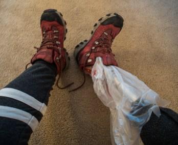 fake leg in boot