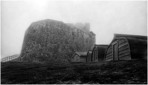 dsc_6193 holy island huts castle bw 600px