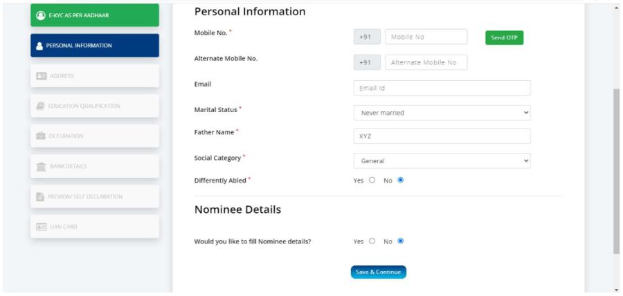 e shram portal Card-Self-registration-Form