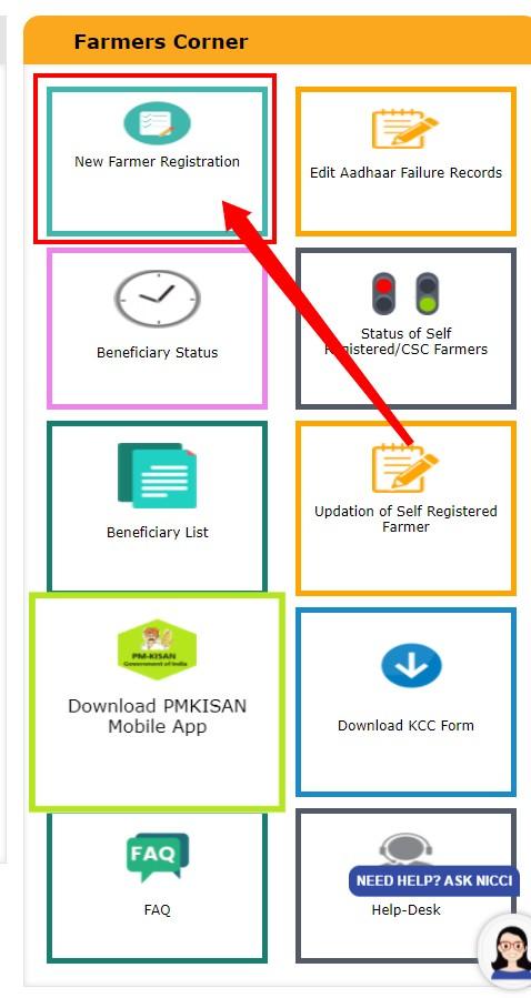 PM Kisan New Farmer Online Registration