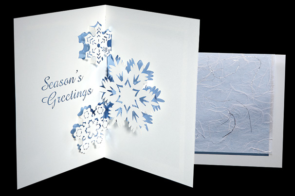 Three Snowflakes Origami Architecture Pop Up Cards By
