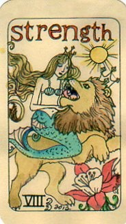 This is Strength from Dame Darcy's Mermaid Tarot http://www.pinterest.com/pin/52213676901795869/