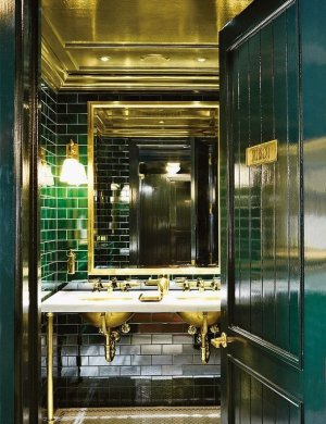 Emerald Green  For a Glamorous Home Grand emerald green and gold bathroom  architecturaldigest
