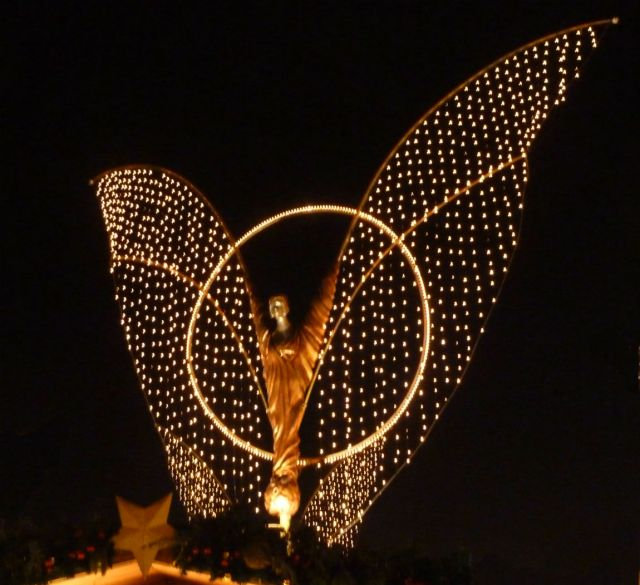 Illuminated angel in Ludwigsburg
