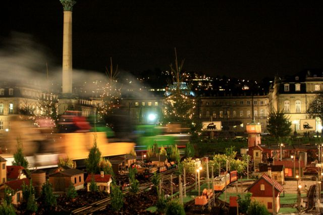 Miniature steam train during the night
