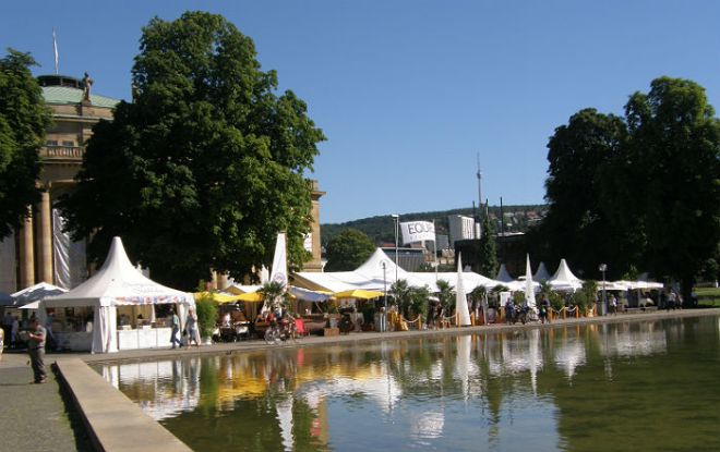 Summer festival in downtown Stuttgart.