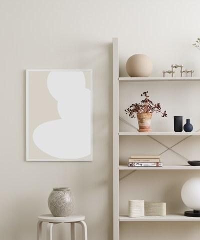 poster voor aan de muur beige/wit somee
