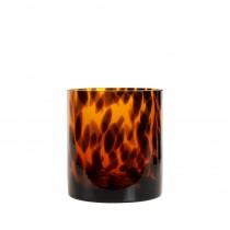 waxinelichthouder luipaard glas 10 cm