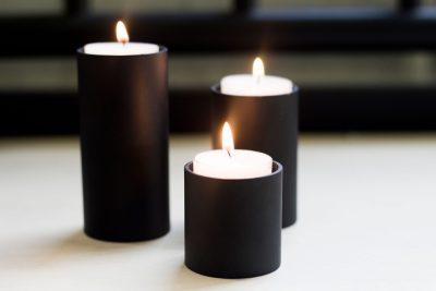 waxinlichthouders zwart set van 3