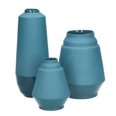 Hella Duijs vaas set van 3 blauw