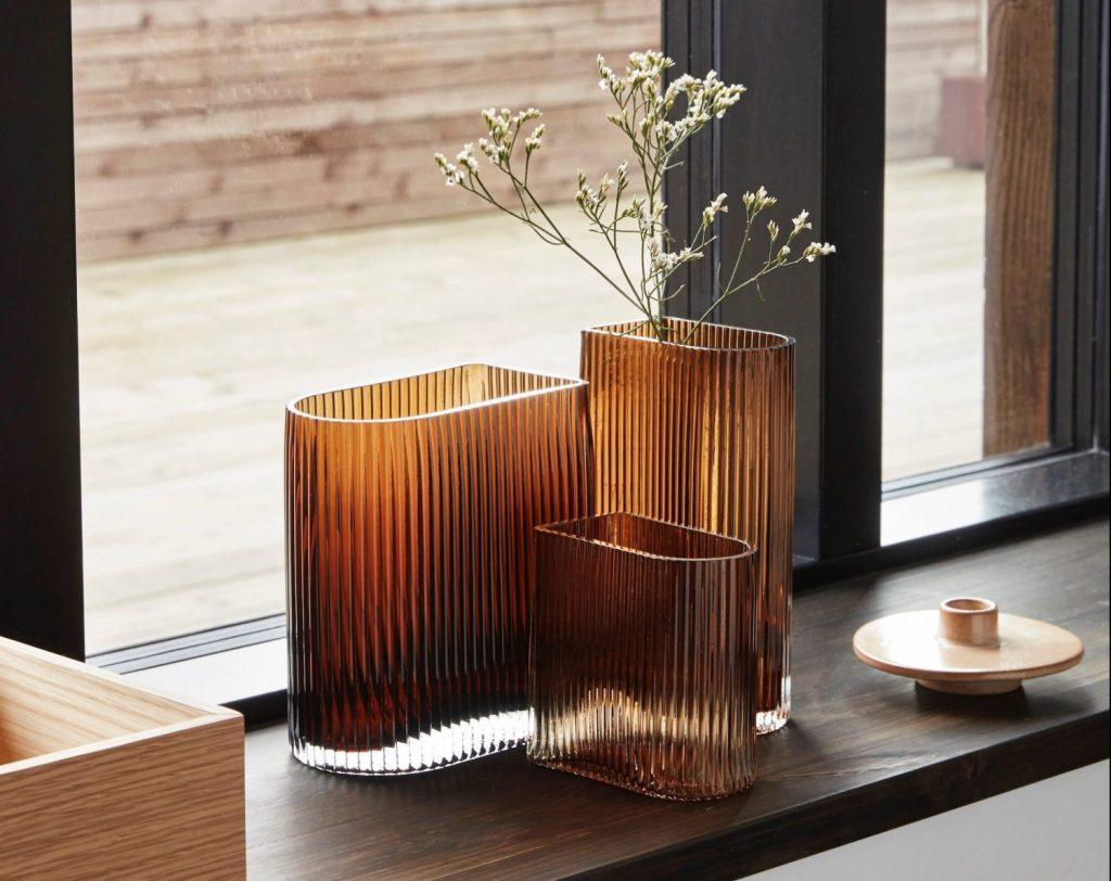 Hubsch decoratieve glazen vazen set van 3 camel