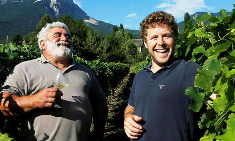 Jean-Noel and Thomas Blard in the Vineyard.