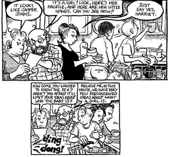 Harriet, Stuart, Ginger, and Lois during a Thanksgiving strip (#403)
