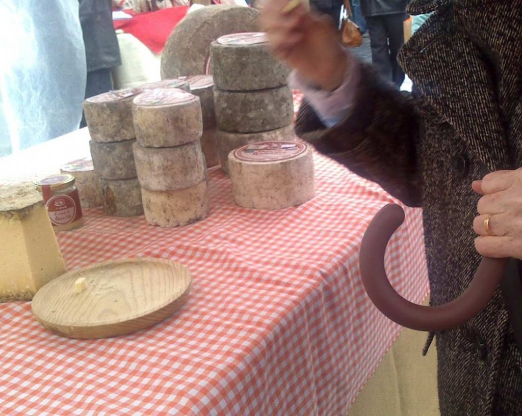 Asturian cheeses in a market