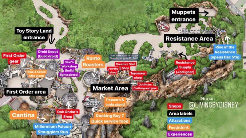 Map of Star Wars Galaxy's Edge in Walt Disney World