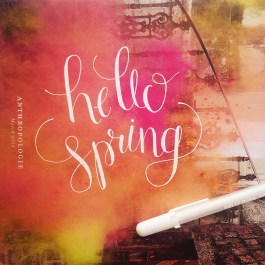 Hand lettering with Sakura Jelly Roll on Anthropologie catalogue.