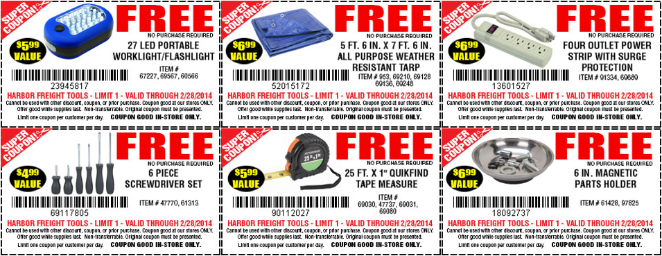 Score 6 Free Tools From Harbor Freight No Purchase Necessary
