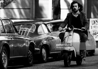 Filmmaker Nanni Moretti on his Vespa in Rome