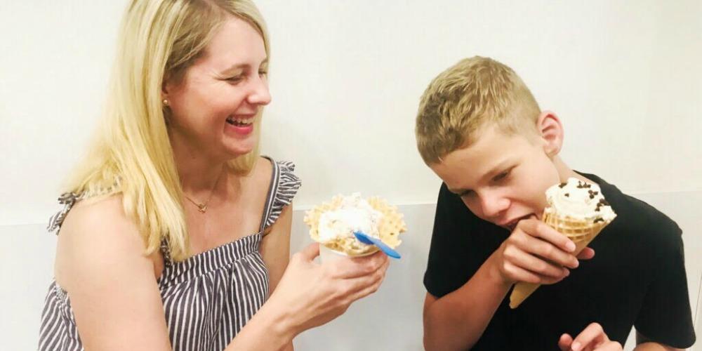 mother and son with vitiligo eat ice cream