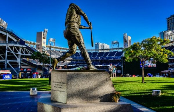 Tony Gwynn statue hitting baseball