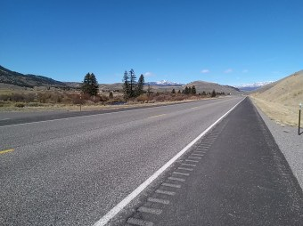 empty highway in Wyoming