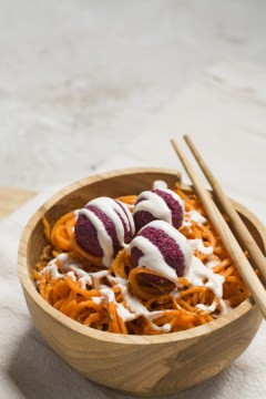 Carrot Spaghetti (Spiralized Carrots with Tomato Pesto, Neat Balls and Tahini Dressing)