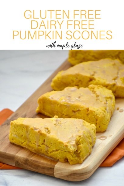 gluten free pumpkin scones on a serving board