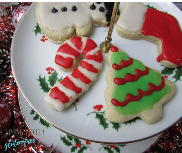 christmas sugar cookies decorated on a plate
