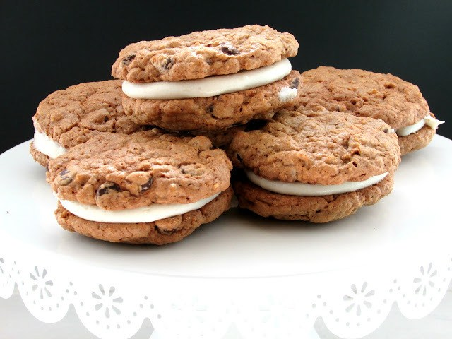 gluten free oatmeal creme pies on a cake plate