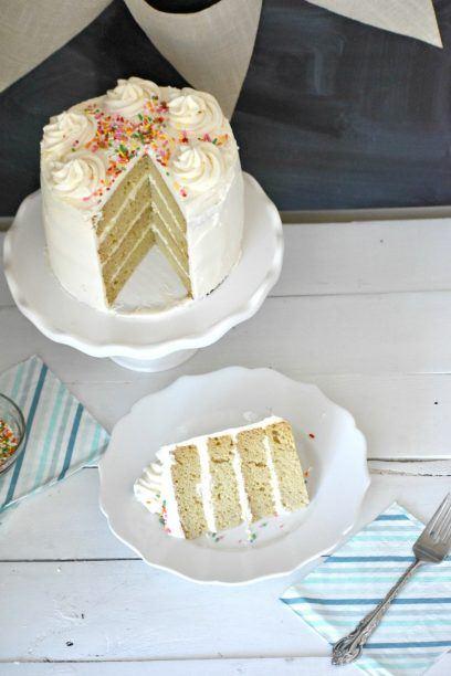 Gluten Free Vanilla cake slice on a plate