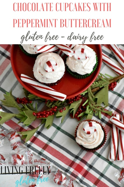 Gluten and dairy free chocolate cupcakes with peppermint buttercream