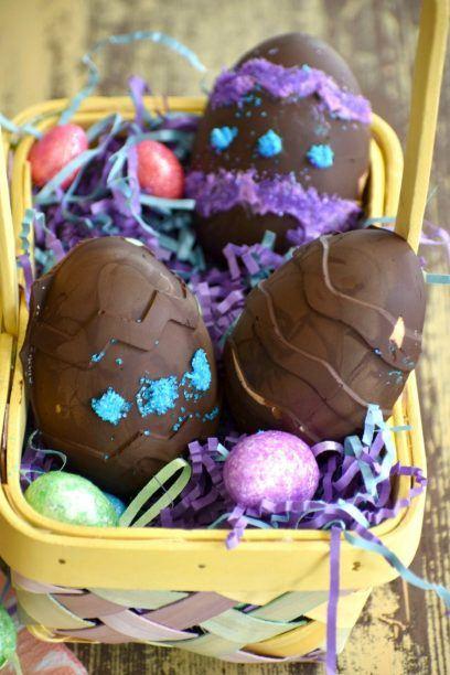 Vegan peanut butter eggs in an Easter basket