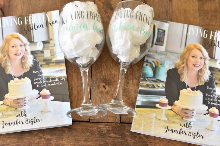 Wine glasses and cookbooks