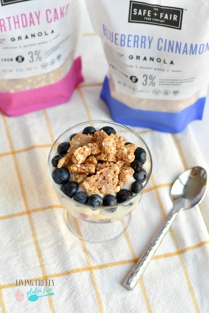 Bags of granola with a yogurt parfait