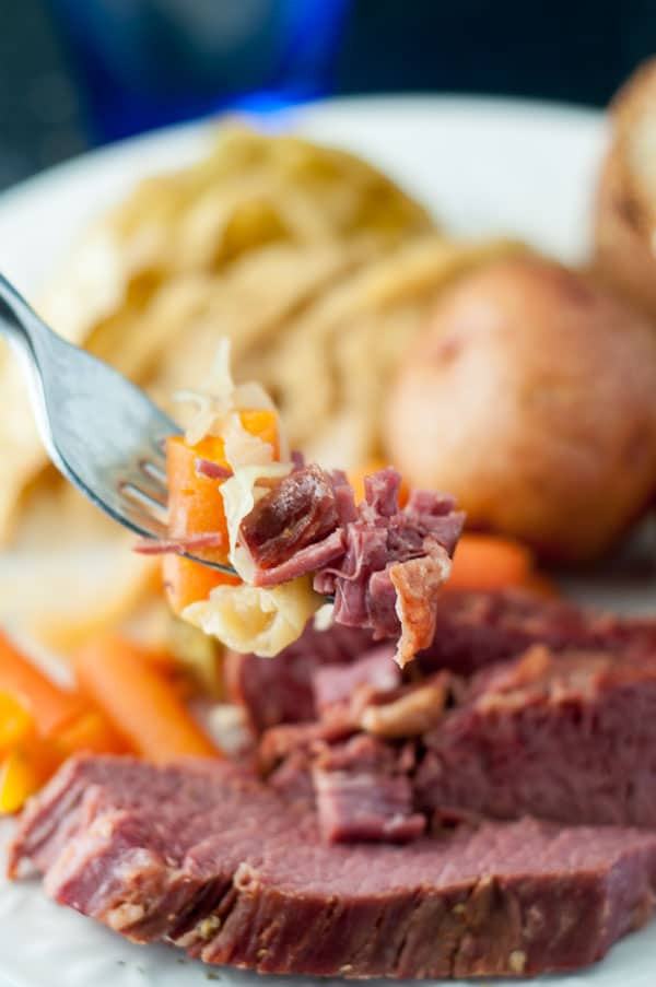 Corned Beef cabbage on a fork