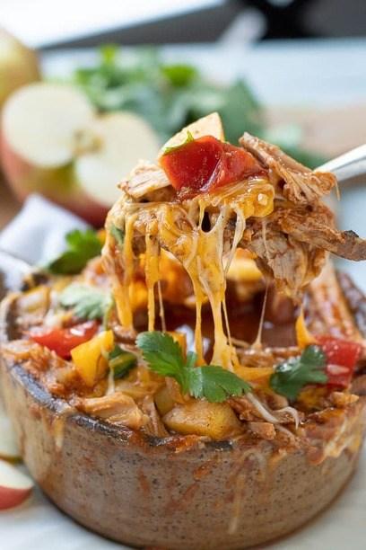 Cheesy pork Chili in a bowl