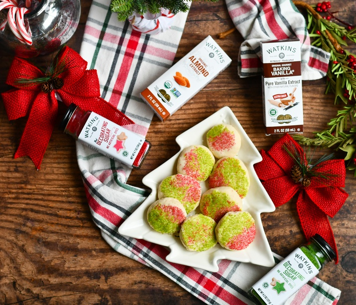gluten free shortbread cookies on a plate with christmas decorations