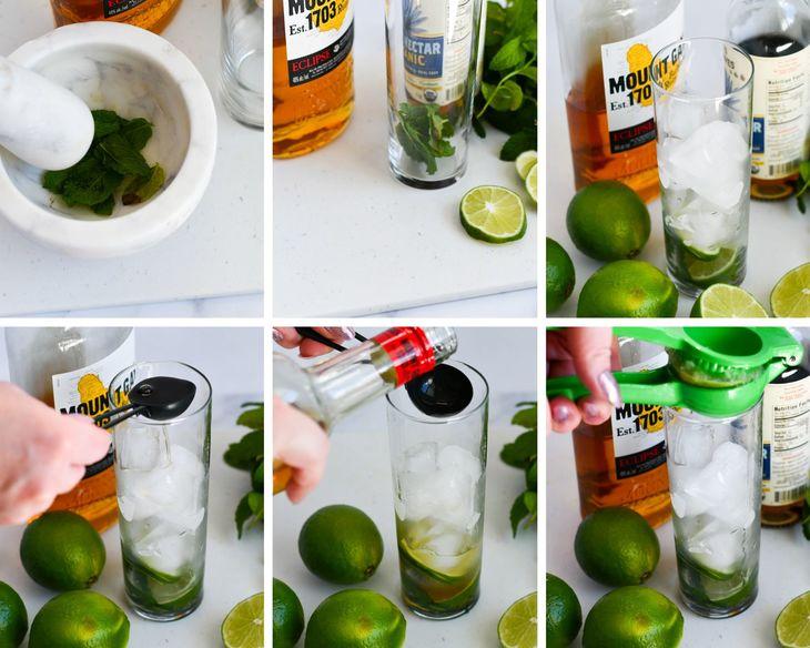 mint mojito process shots